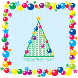 Christmas tree, balls and stars. On seamless background. New year postcard Royalty Free Stock Photography