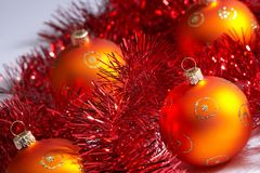 Christmas tree balls with tinsel - weihnachstkugeln mit lametta Stock Images