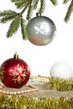 Christmas tree with balls and tinsel Stock Photography