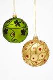 Christmas Tree Balls - Weihnachtskugeln. Two very beautfiul Christmas Tree Balls - zwei prunkvoll verzierte Weihnachtskugeln stock photos