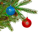 Christmas tree and balls Stock Image