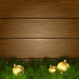 Christmas tree and balls on wooden background Stock Photo
