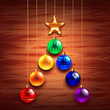 Christmas tree from balls on wooden background. Realistic vector Royalty Free Stock Photos
