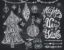 Christmas tree,bals.New year Lettering,decor. Christmas tree,bals,New year 2016 lettering.Hand drawn decotation,garlands with handwriting quotes,bow and Royalty Free Illustration