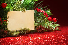 Christmas tree banches with note Royalty Free Stock Image