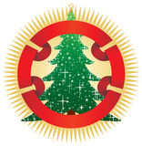 Christmas tree with banner. Illustration Stock Photo
