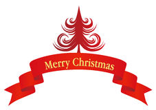 Christmas tree and banner Royalty Free Stock Photos