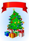Christmas tree with banner Royalty Free Stock Image