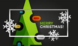 Christmas tree greeting banner, black background. Christmas tree banner, black background. Green Merry Christmas tree and Happy New Year 2018 concept Royalty Free Stock Images