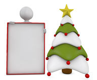 Christmas tree, banner and character Stock Images