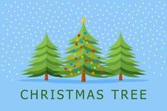 Christmas tree banner. Christmas card. Vector illustration Stock Images