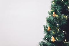 Christmas tree banner, background. Decorated fir tree with homemade Christmas trees cookies ornament and star light. Christmas tree banner, mockup, background royalty free stock images