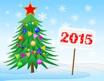 Christmas tree and banner with numbers 2015 year. Vector  illustration Stock Image