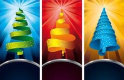Christmas tree - banners. 3 colorful web banners with christmas trees Stock Image