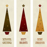 Christmas tree banners. Vertical christmas tree banners with seasonal messages Royalty Free Stock Photography