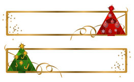 Christmas Tree Banners. Illustrations of banners with christmas trees and ribbons Royalty Free Stock Photo
