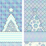 Christmas tree Banners. Two banners with Christmas Christmas trees on a colorful background Royalty Free Stock Images