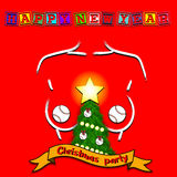 Christmas tree, baseball ball and sketch of breast Royalty Free Stock Photos
