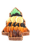 Christmas tree basket with dried fruits Stock Images