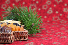 Christmas tree basket with dried fruits Royalty Free Stock Photo