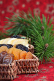 Christmas tree basket with dried fruits Stock Photos