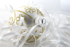 Christmas Tree Bauble. Christmas tree ball arranged with white ribbon Royalty Free Stock Images