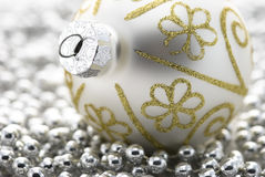Christmas Tree Bauble. Christmas tree ball with silver beads Royalty Free Stock Photos