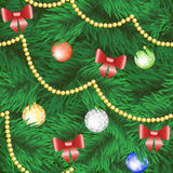 Christmas tree with bauble and bow. Christmas tree seamless background with bauble and bow Stock Photos