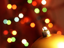 Christmas Tree bauble and magic bokeh. Royalty Free Stock Photo