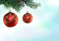 Christmas Tree & Baubles Royalty Free Stock Photo