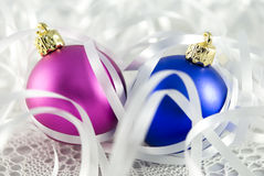 Christmas Tree Baubles. Colorful christmas tree balls with white ribbon Royalty Free Stock Photography