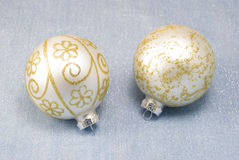 Christmas Tree Baubles. Christmas tree balls arranged on shiny decor fabric Royalty Free Stock Photo