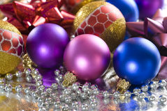 Christmas Tree Baubles. Christmas tree colorful balls and silver beads Stock Photos