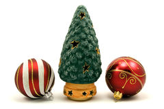 Christmas tree and baubles Stock Photo