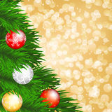 Christmas tree and baubles Royalty Free Stock Images