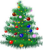 Christmas tree with baubles. And lights - vector royalty free illustration