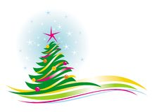 Christmas tree with baubles. Vector illustration Royalty Free Stock Photo