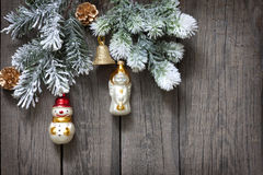 Christmas tree and baubles background royalty free stock photo