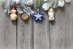 Christmas tree and baubles background Stock Image