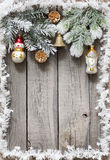 Christmas tree and baubles background stock photo