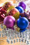 Christmas Tree Baubles and Beads. Christmas balls arranged with silver beads Stock Photography