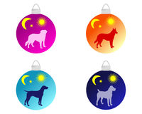 Christmas tree baubles with dog motifs Royalty Free Stock Images