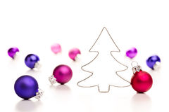 Christmas tree and baubles. royalty free stock photography