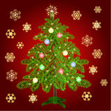 Christmas tree with baubles and gold snowflakes vector Stock Photo