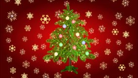 Christmas tree with baubles and gold snowflakes video. Animation of illustration seamless loop Christmas tree with baubles and gold snowflakes video