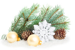 Christmas tree with baubles Stock Images