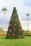 Christmas tree with baubles and palm trees in tropical Florida Stock Photography
