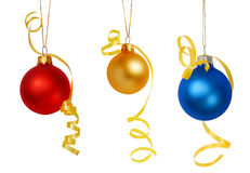 Christmas tree baubles. Three Christmas tree baubles isolated on white background Royalty Free Stock Photos
