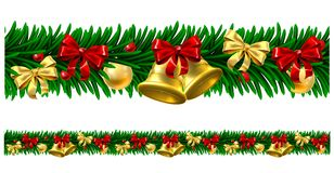 Christmas Tree Baubles Wreath Design Border. A Christmas tree wreath garland design with bells, baubles and bows decorations. Seamlessly tillable to make any Stock Image