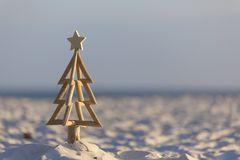 Christmas Tree on the Beach early morning light. In Australia Christmas occurs in our summer months and lots of aussies celebrate Christmas outdoors or at the Royalty Free Stock Photo